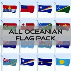 All Oceanian Flag Pack 3D Model