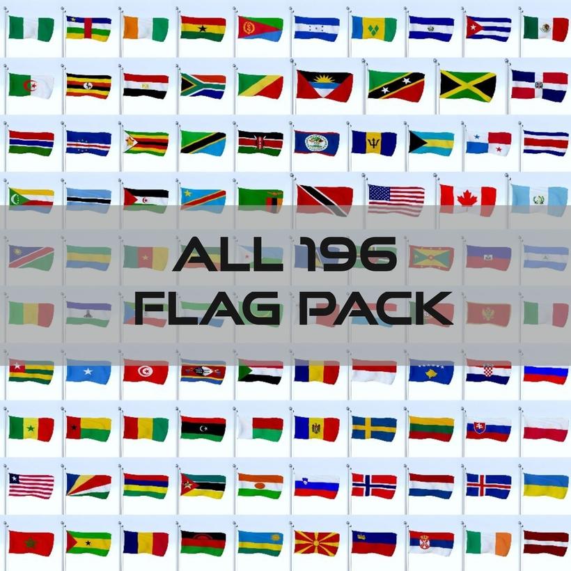 All 196 Flag Pack 3D Model