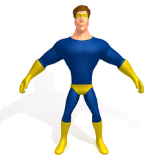 Superhero Cartoon 02 3D Model