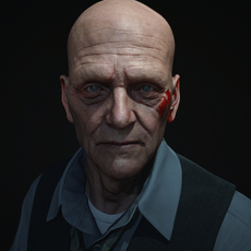 Low Poly Photo realistic Old man Face Head 3D Model