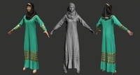 Woman in Arabic Dress low-poly 3d mode 3D Model