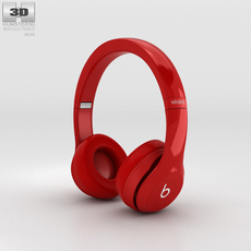 Beats by Dr. Dre Solo2 Wireless Headphones Red 3D Model