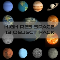 13 Planets in High Definition 12 animated Pack 3D Model