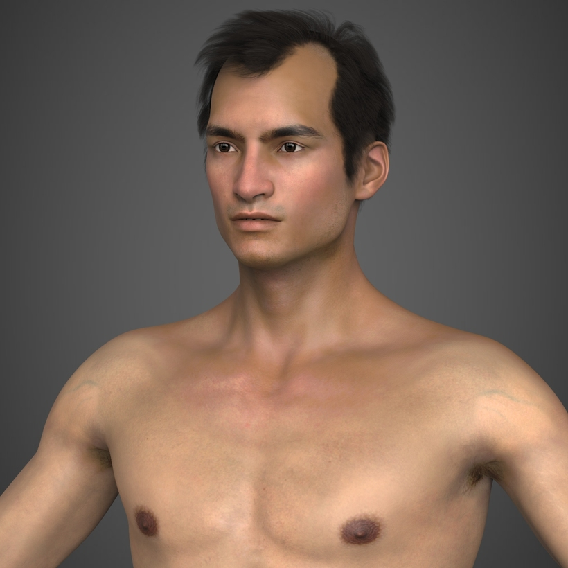 Photo realistic brunette young man with realistic hair and body hair in black underwear 3D Model