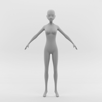 Anime Female Base Mesh 3D Model