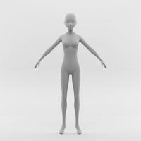 Anime Female Base Mesh 3D Model