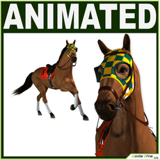 Equipped Racehorse CG 3D Model