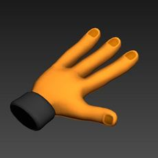 3 finger Hand 3D Model