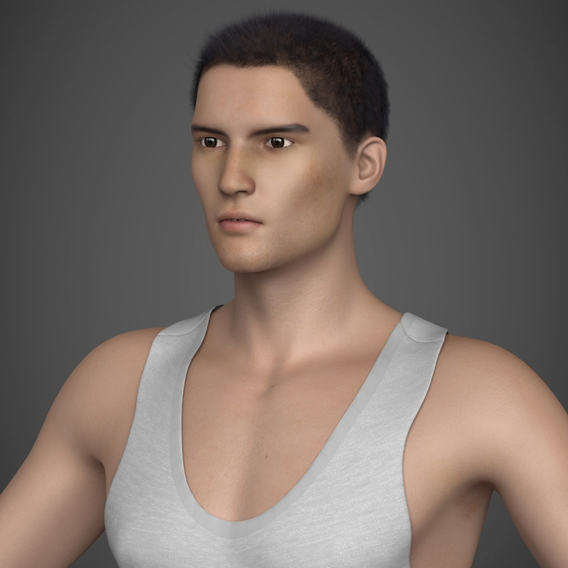 Young Brunette Male in tank top, shorts, sandles, 3D Model