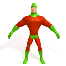 Superhero Cartoon 03 3D Model