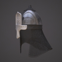Russian helmet with icon 3D Model