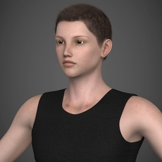Young Brunette Teen Boy with Realistic Hair, Tank Top, Shorts and sandles 3D Model