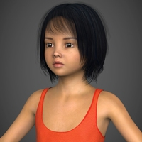 Photo Realistic Child Female Girl with Realistic Hair and Body Suit 3D Model