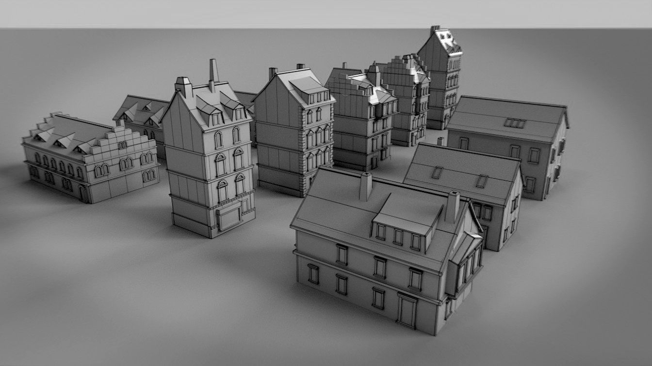 Paper Buildings and Building Model Kit 3D Model