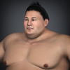 Realistic Japanese Sumo with Black Hair and Cloth Mawashi 3D Model
