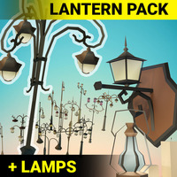 Low Poly Lantern props Pack 3D Model