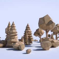 Paper Trees and Bushes 3D Model