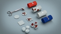 Bandages, Gauze and Swabs - Medical Kit 3D Model