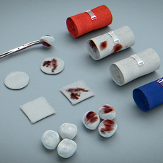 Bandages, Gauze and Swabs - Medical Kit 3D Model