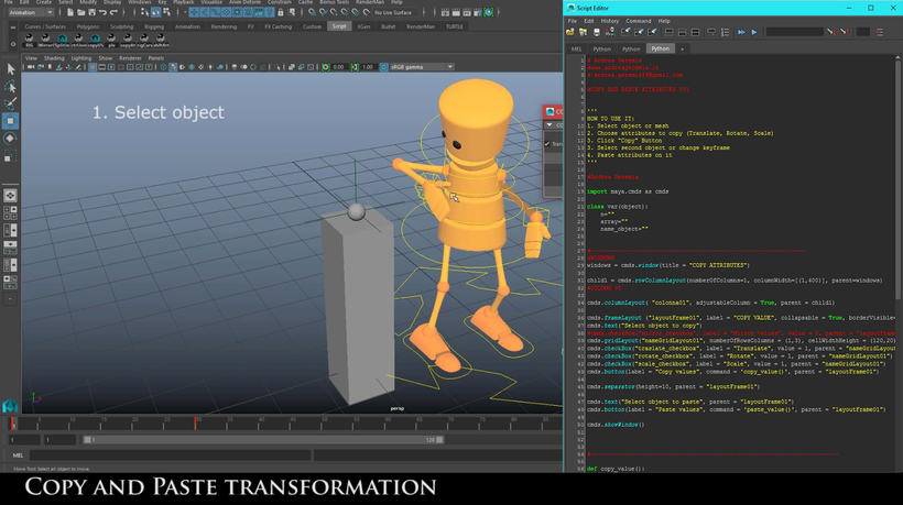 Copy and paste attributes (translate, rotate, scale) for Maya