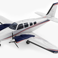 Beechcraft Baron G58 Plane 3D Model
