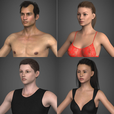 Realistic Male Female Human Character Collection with Hairs and Cloths 3D Model
