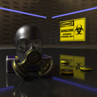 Gas Mask with spare filters 3D Model