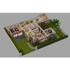 CUTAWAY HOUSE FULL FURNITURES 3D Model