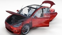 Tesla Model 3 Red with interior and chassis 3D Model