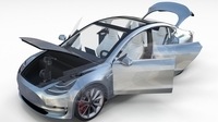 Tesla Model 3 Silver with interior and chassis 3D Model