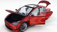 Tesla Model 3 Red with interior 3D Model