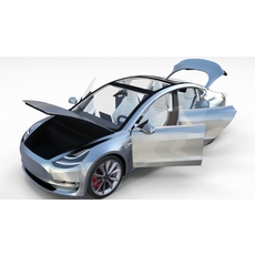 Tesla Model 3 Silver with interior 3D Model