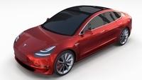 Tesla Model 3 Red 3D Model