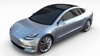 Tesla Model 3 Silver 3D Model