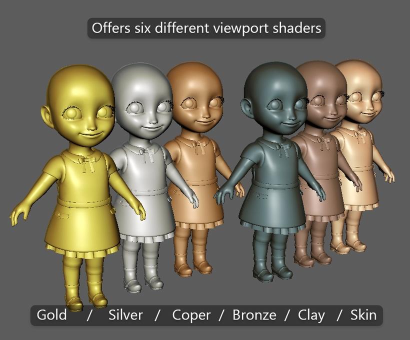 GJ Maya Viewport Shader Pack for Maya - Free Shaders