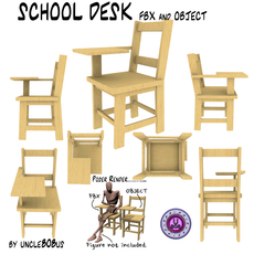 School Desk FBX_OBJ 3D Model