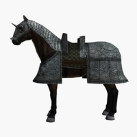 rigged armed armor horse 3D Model