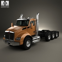 Kenworth T880 Chassis Truck 4-axle 2013 3D Model
