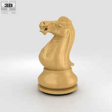 Classic Chess Knight White 3D Model