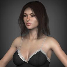 Young Beautiful Woman with Hair, Tank, Leggings & Socks 3D Model