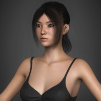 Photoreal Young Japanese Girl with Black Hair, Black Top, Denim Short and Sleepers 3D Model