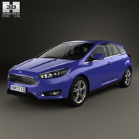 Ford Focus hatchback with HQ interior 2014 3D Model