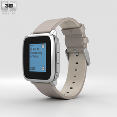 Pebble Time Steel Silver Stone Leather Band 3D Model