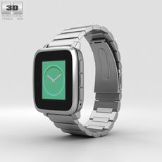 Pebble Time Steel Silver Metal Band 3D Model