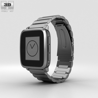 Pebble Time Steel Gunmetal Black Metal Band 3D Model