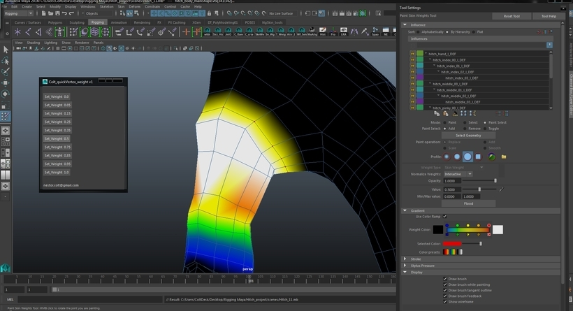 Colt quick vertex weight for Maya - Free Paint FX Scripts