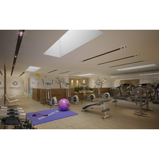 Gym Fitness interior design idea with Kids Area 3D Model