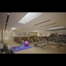 Gym Fitness interior design idea with Kids Area 3D Model