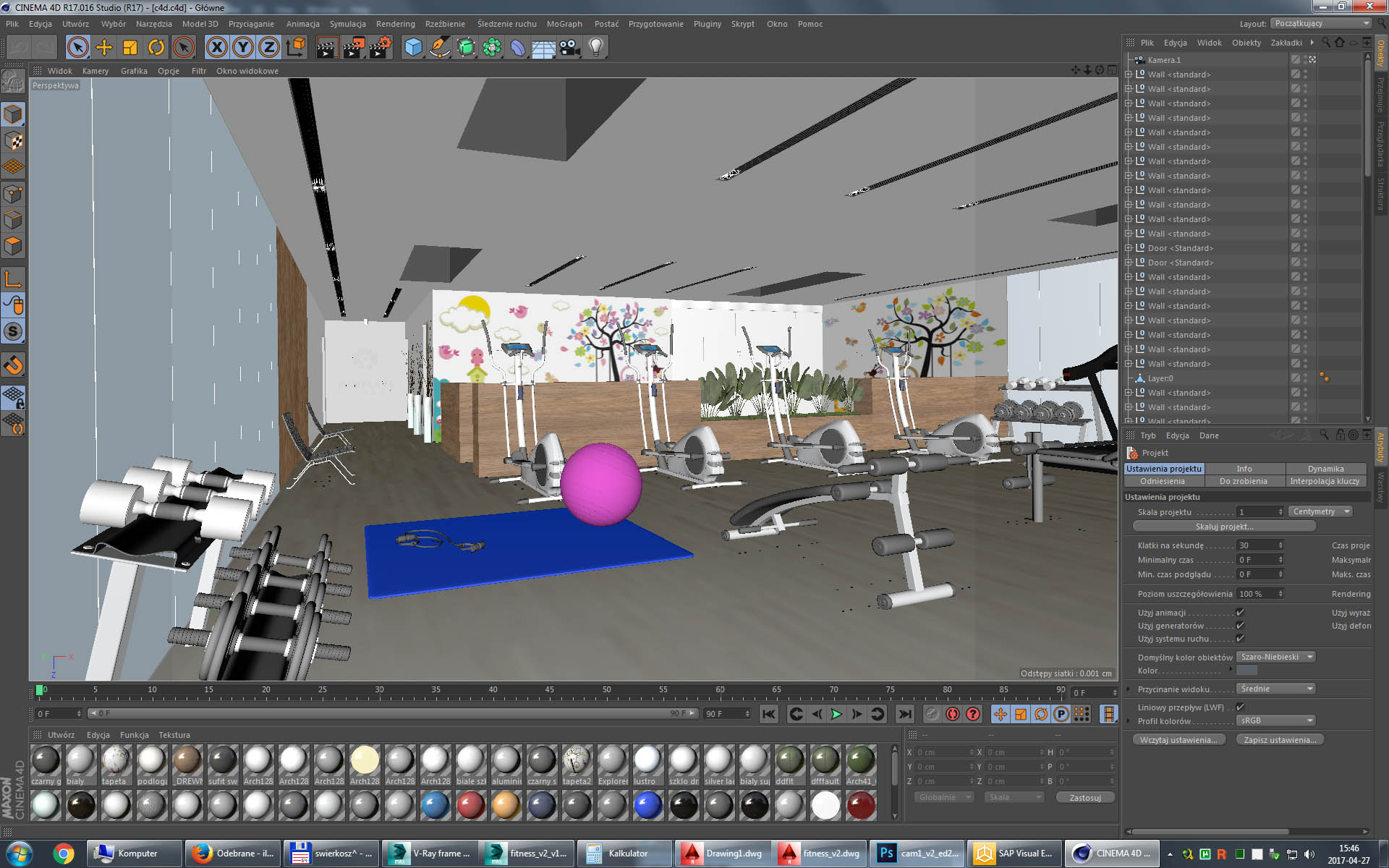 Gym fitness interior design idea with kids area 3d model Easy 3d modeling software