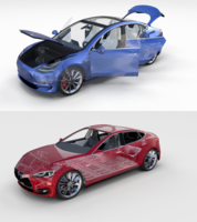 Tesla Model 3 and Model S with interior and chassis Pack 3D Model